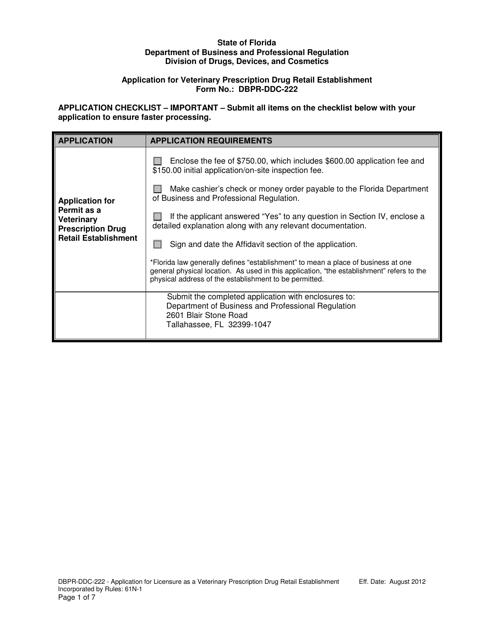 Form DBPR-DDC-222  Printable Pdf