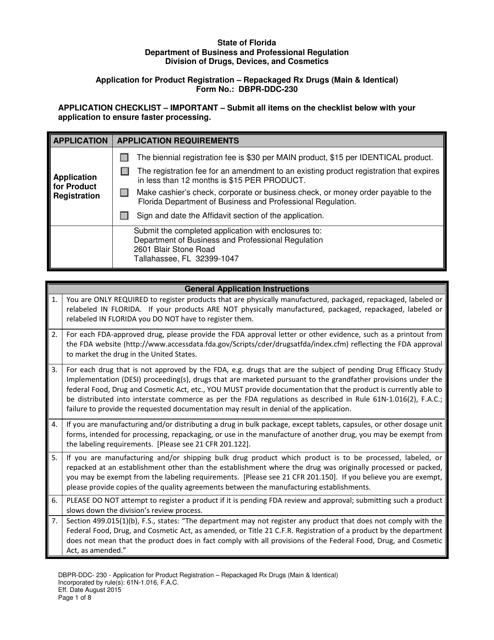 Form DBPR-DDC-230  Printable Pdf