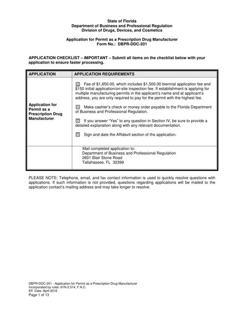 Form DBPR-DDC-201  Printable Pdf
