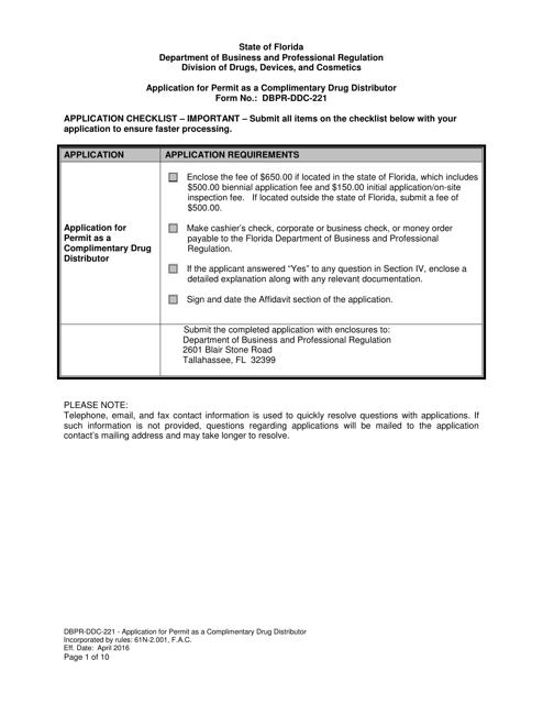 Form DBPR-DDC-221  Printable Pdf