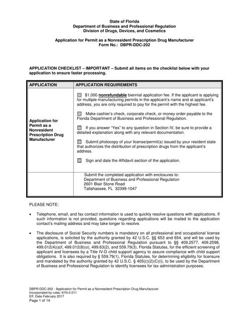 Form DBPR-DDC-202  Printable Pdf