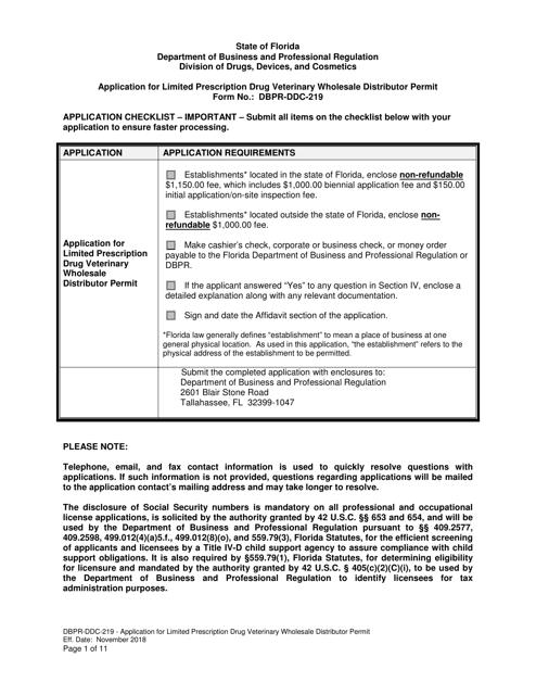 Form DBPR-DDC-219  Printable Pdf
