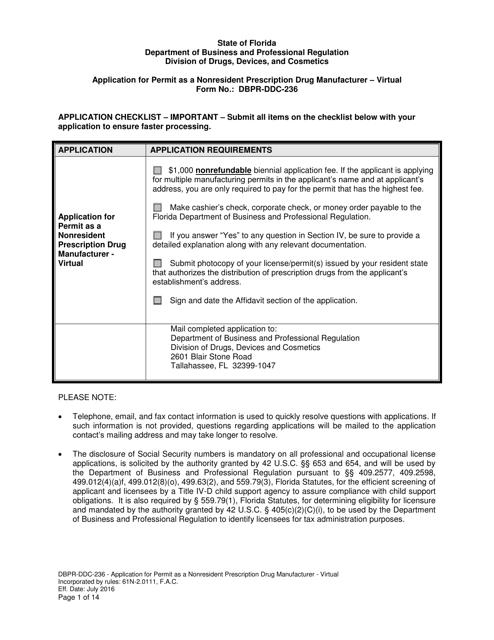 Form DBPR-DDC-236  Printable Pdf