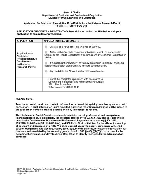 Form DBPR-DDC-212  Printable Pdf
