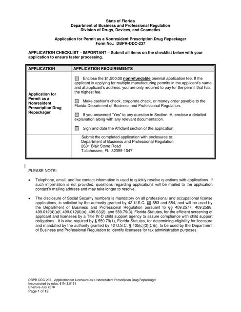 Form DBPR-DDC-237  Printable Pdf