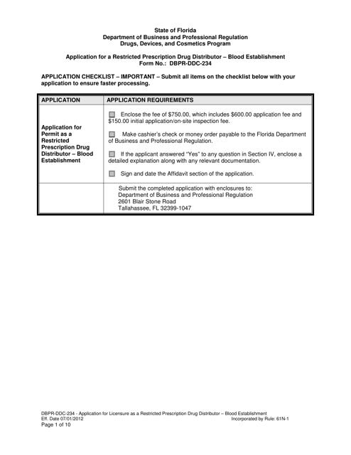 Form DBPR-DDC-234  Printable Pdf