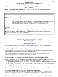 "Form DBPR ELC-6 ""Application for Certificate of Approval for/Notification of Change of Ownership (Asset Purchase)"" - Florida"