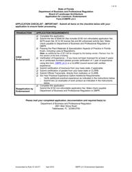 """DBPR Form LA3 """"Application for Licensure: Endorsement"""" - Florida"""