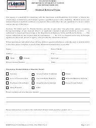 "Form HSMV72190 ""Medical Referral Form"" - Florida"