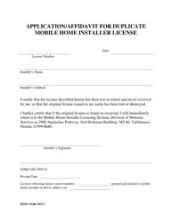 """Form HSMV81406 """"Application/Affidavit for Duplicate Mobile Home Installer License"""" - Florida"""