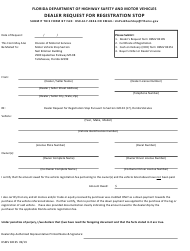 "Form HSMV82195 ""Dealer Request for Registration Stop"" - Florida"