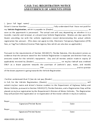 "Form HSMV83351 ""C.o.d. Tag /Registration Notice and Evidence of Amounts Owed"" - Florida"