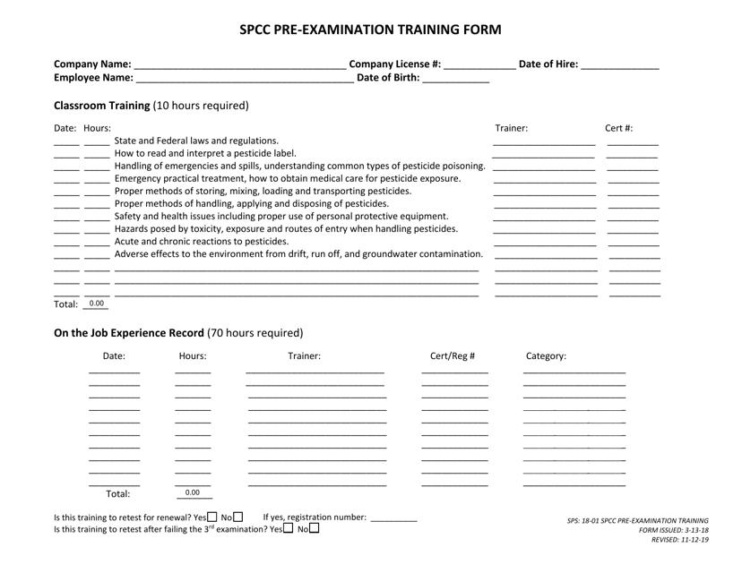 """Spcc Pre-examination Training Form"" - Georgia (United States) Download Pdf"