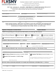"Form HSMV90510 ""Motor Vehicle, Vessel and Mobile Home Records Request"" - Florida"