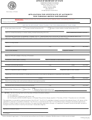 """Form CD251 """"Application for Certificate of Authority for Foreign Limited Partnership"""" - Georgia (United States)"""