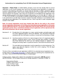 """Form CD920 """"Amended Annual Registration for Limited Liability Company"""" - Georgia (United States)"""