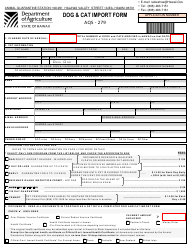 "Form AQS-279 ""Dog & Cat Import Form"" - Hawaii"