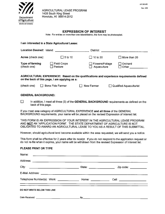 """""""Expression of Interest"""" - Hawaii Download Pdf"""