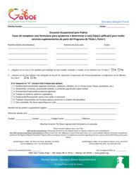 """Parent Occupational Survey"" - Georgia (United States) (English/Spanish)"