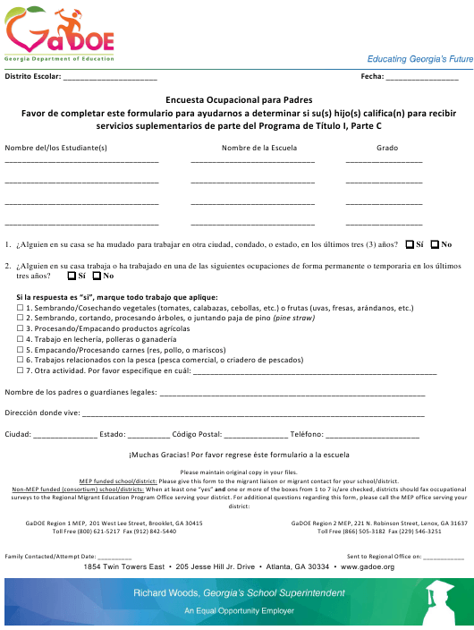 """Parent Occupational Survey"" - Georgia (United States) (English/Spanish) Download Pdf"