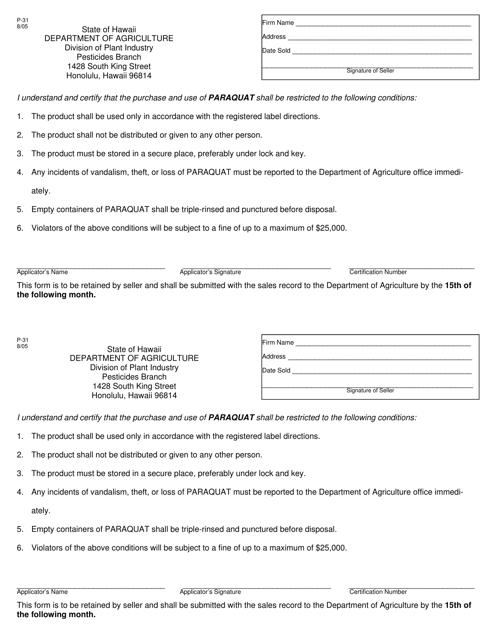 Form P-31  Printable Pdf