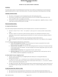 "Instructions for Form DHS1109 ""Report of Self-employment Earnings"" - Hawaii"