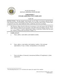 "Form HLRB-11 ""Unfair Labor Practice Complaint"" - Hawaii"