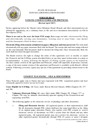 "Form HLRB-25 ""Hlrb E-Filing Consent Form and Protocols for E-Filing"" - Hawaii"