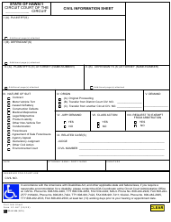 "Form 1C-167 ""Civil Information Sheet"" - Hawaii"