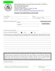 "AD-DUI Form 36 ""Request for Subpoenas to Be Issued"" - Hawaii"