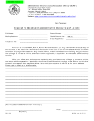 "AD-DUI Form 06 ""Request to Reconsider Administrative Revocation of License"" - Hawaii"