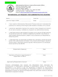 "AD-DUI Form 43 ""Withdrawal of Request for Administrative Hearing"" - Hawaii"