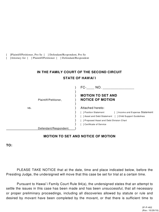 Form 2f P 462 Download Fillable Pdf Or Fill Online Motion To Set And Notice Of Motion Hawaii Templateroller