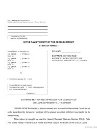 "Form 2F-P-221 ""Ex Parte Motion and Affidavit for Custody of Child(Ren) Pendente Lite; Order"" - Hawaii"