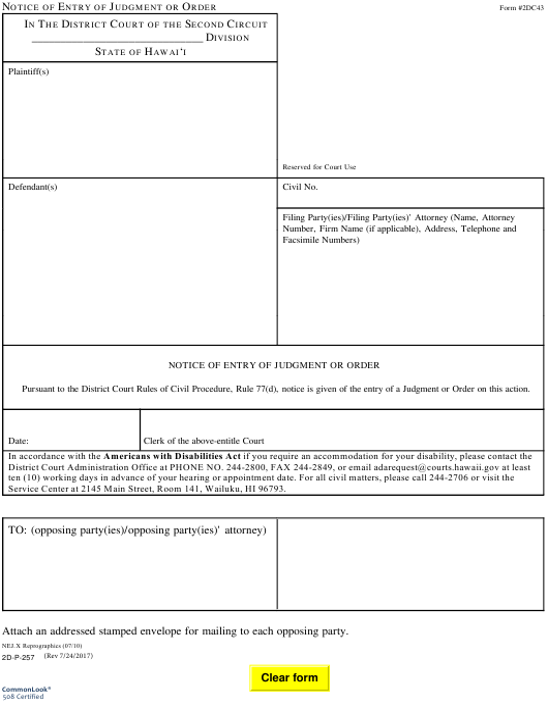 Form 2DC43  Printable Pdf