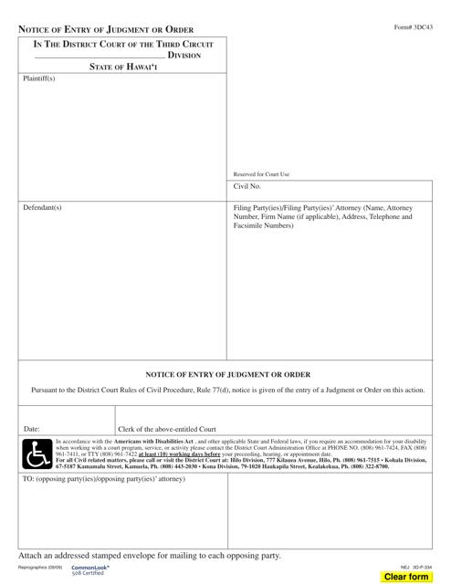 Form 3DC43  Printable Pdf