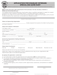 """Application for Disabled Veterans Special Big Game Hunt"" - Idaho"