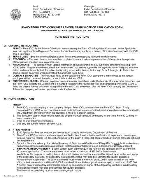 Form ICC3  Printable Pdf