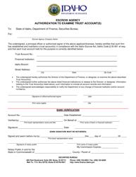 """Escrow Agency Authorization to Examine Trust Account(S)"" - Idaho"