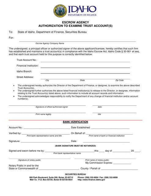 """Escrow Agency Authorization to Examine Trust Account(S)"" - Idaho Download Pdf"