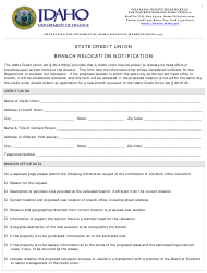 """State Credit Union Branch Relocation Notification"" - Idaho"