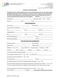 """AHB Form 76-074 """"Pasture-To-Pasture Permit"""" - California"""