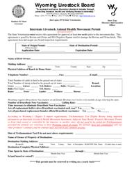 """Interstate Livestock Animal Health Movement Permit"" - Wyoming"