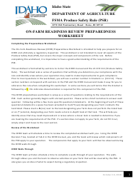 """On-Farm Readiness Review Preparedness Worksheet"" - Idaho"