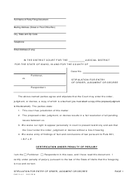 "Form CAO FL6-1 ""Stipulation for Entry of Order, Judgment or Decree"" - Idaho"