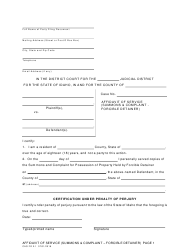 "Form CAO FD2-1 ""Affidavit of Service (Summons & Complaint - Forcible Detainer)"" - Idaho"