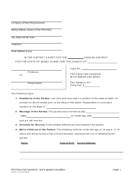 "Form CAO D1-5 ""Petition for Divorce: With Minor Children"" - Idaho"