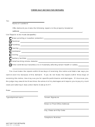 "Form CAO TR1 ""Three Day Notice for Repairs"" - Idaho"