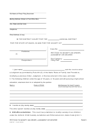 "Form CAO M1-1 ""Petition to Modify an Order, Judgment or Decree"" - Idaho"