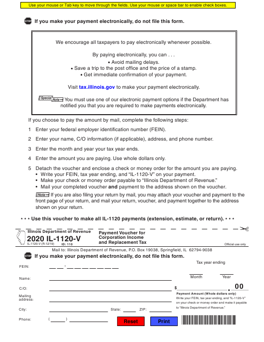 Form Il 1120 V Download Fillable Pdf Or Fill Online Payment Voucher For Corporation Income And Replacement Tax 2020 Illinois Templateroller